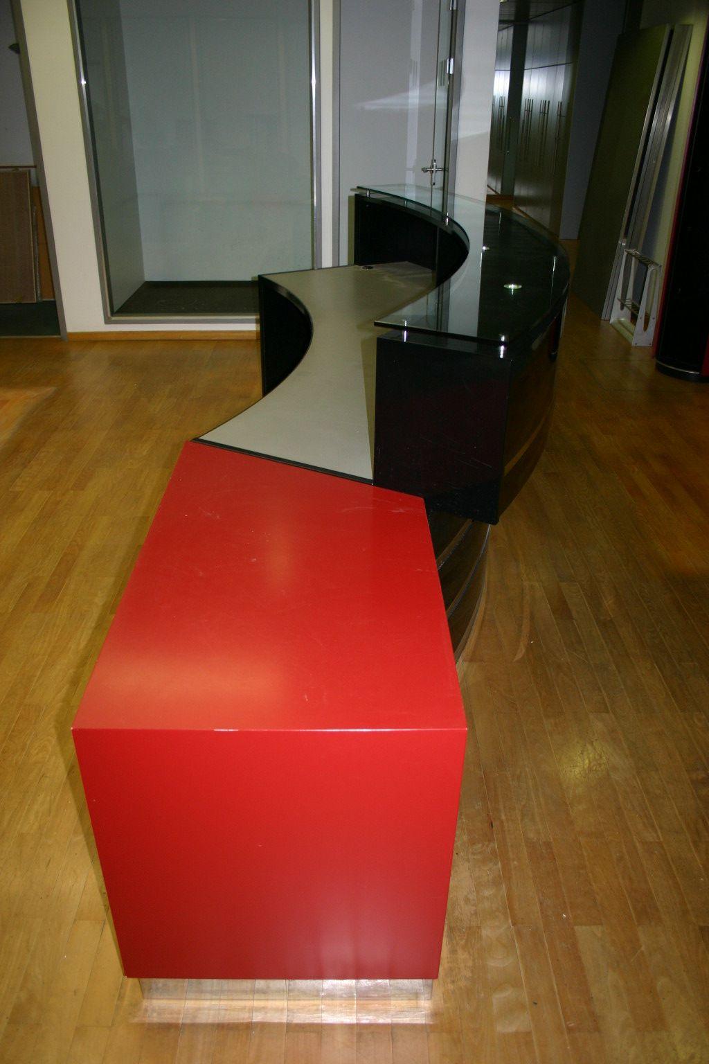 empfangstheke tresen theke holz lack schwarz rot glasplatte d665 ebay. Black Bedroom Furniture Sets. Home Design Ideas