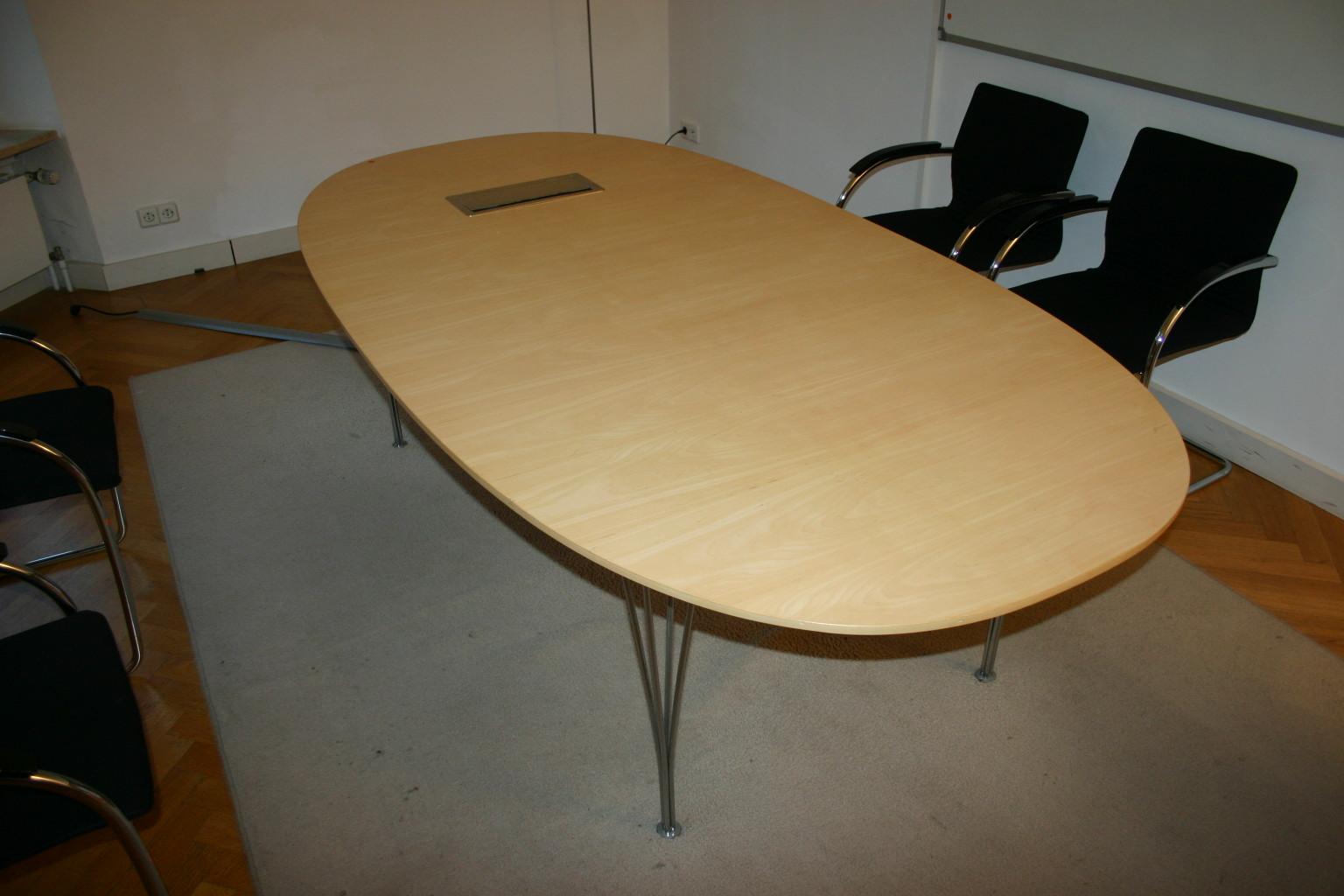 konferenztisch besprechungstisch tisch echtholz ahorn fritz hansen d709 ebay. Black Bedroom Furniture Sets. Home Design Ideas