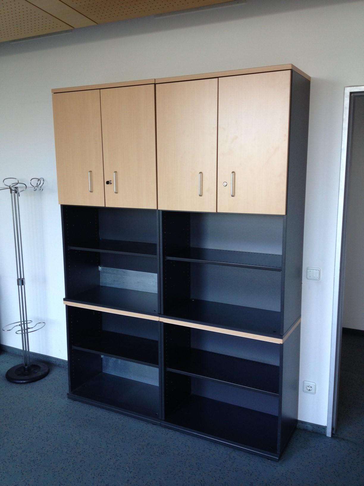 2teiliger aktenschrank regal in buche anthrazit. Black Bedroom Furniture Sets. Home Design Ideas