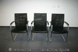 Set: 3 Freischwinger in schwarzem Leder von Art Collection