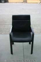 Konferenzstuhl in schwarzem Leder von Wilkhahn