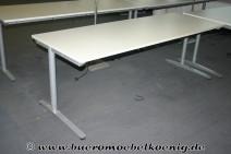 Höhenverstellbarer Schreibtisch 220x80 in weiß