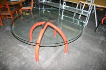 Glastisch mit Gestell in rot von Knoll