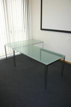 Glastisch 160 x 80  mit einem satiniertem Gestell