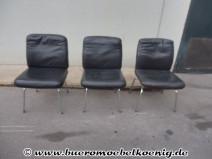 Set: 3 Besucherstühle in schwarzem Leder von Sedus