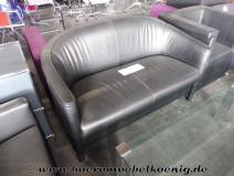 Set: Zweisitzer Sofa und 2 Sessel in schwarzem Leder von Walter Knoll