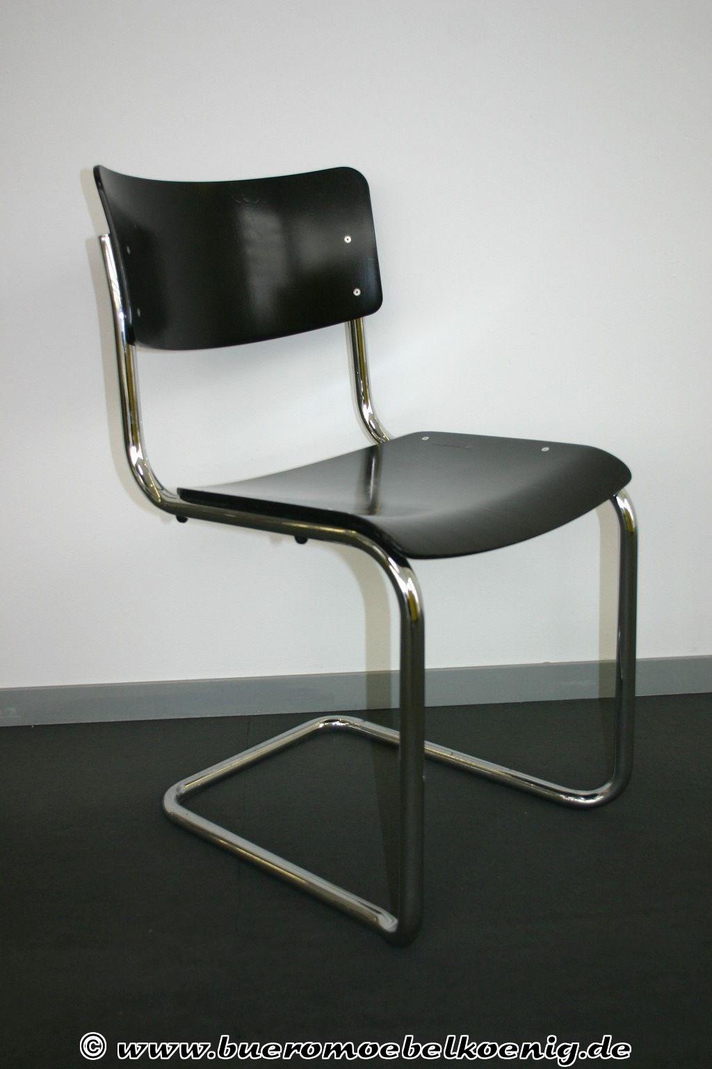 freischwinger in schwarz von thonet modell s43. Black Bedroom Furniture Sets. Home Design Ideas