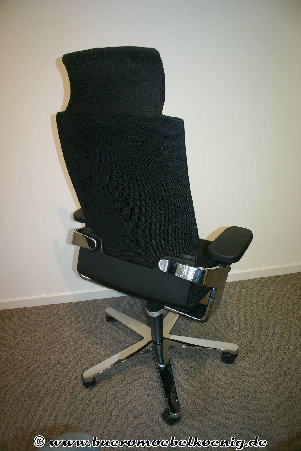 drehsessel in schwarz chrom von wilkhahn modell on 175 7. Black Bedroom Furniture Sets. Home Design Ideas