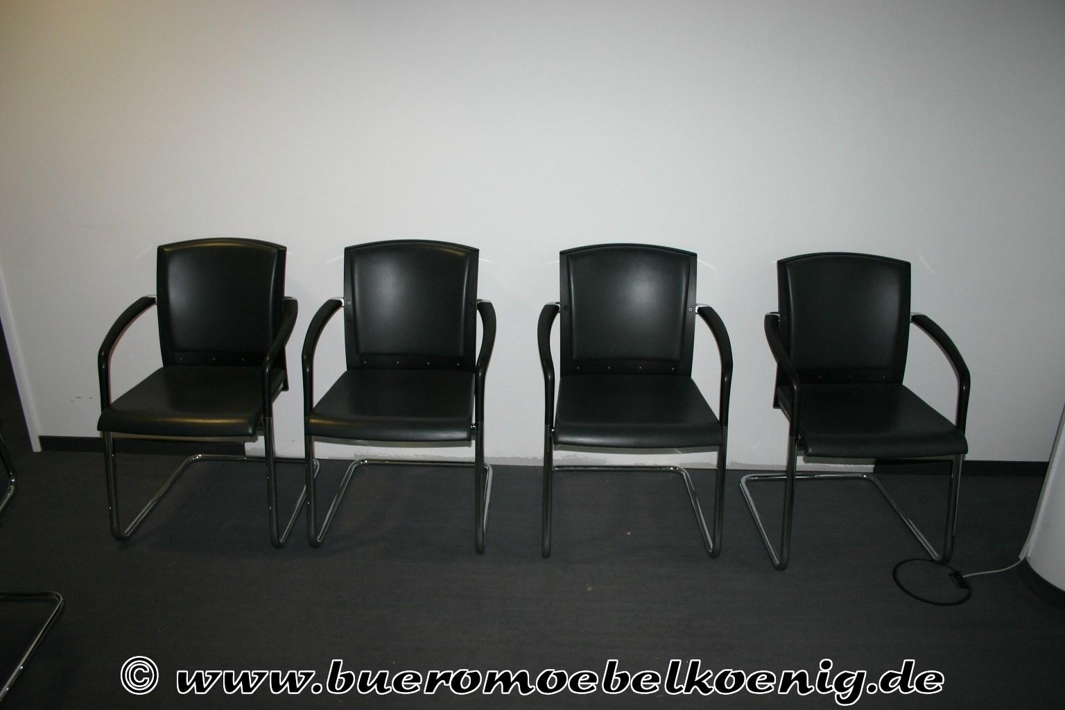 Set: 6 Freischwinger in schwarzem Leder von König + Neurath, Modell ...