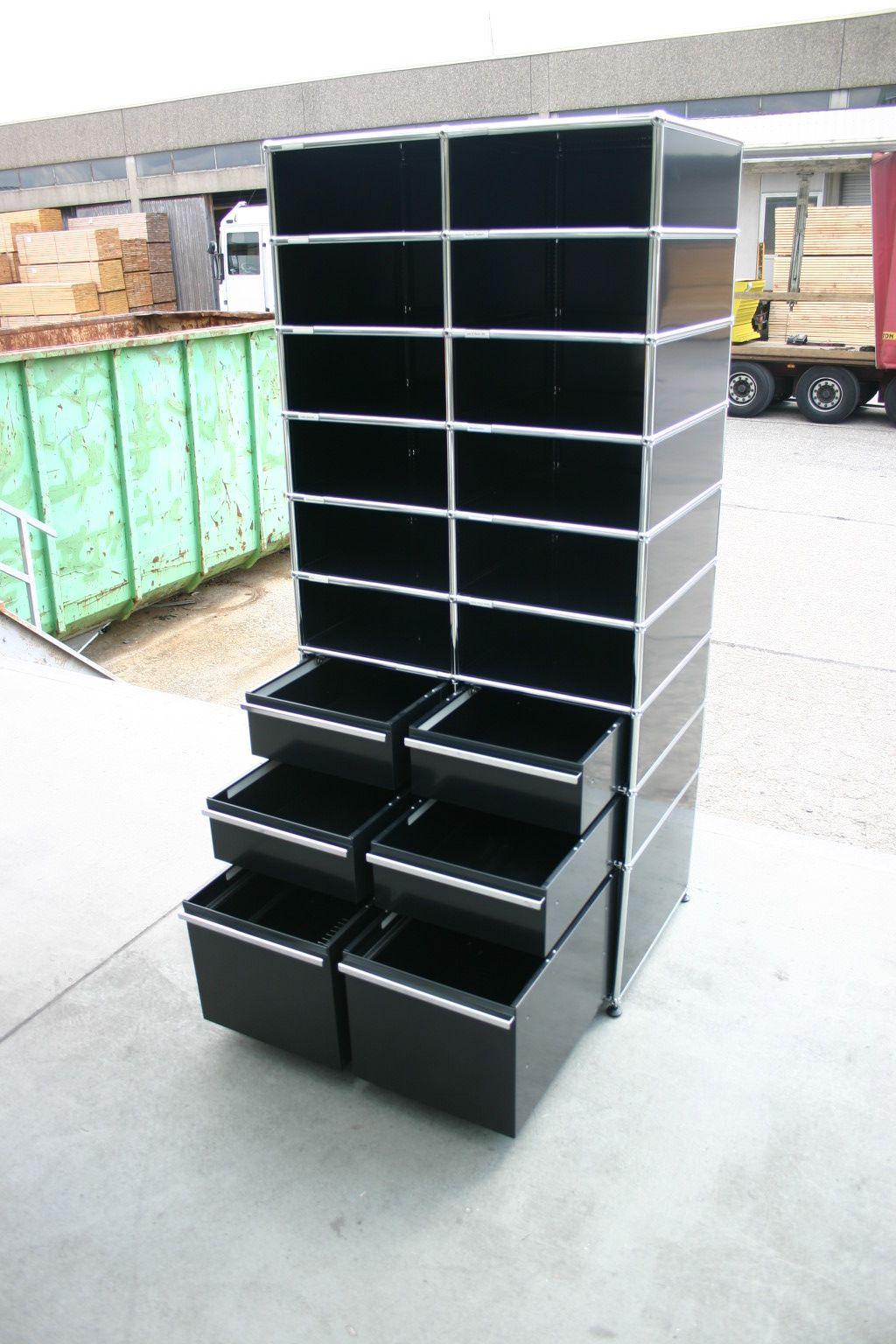 postfachregal von usm haller in schwarz. Black Bedroom Furniture Sets. Home Design Ideas