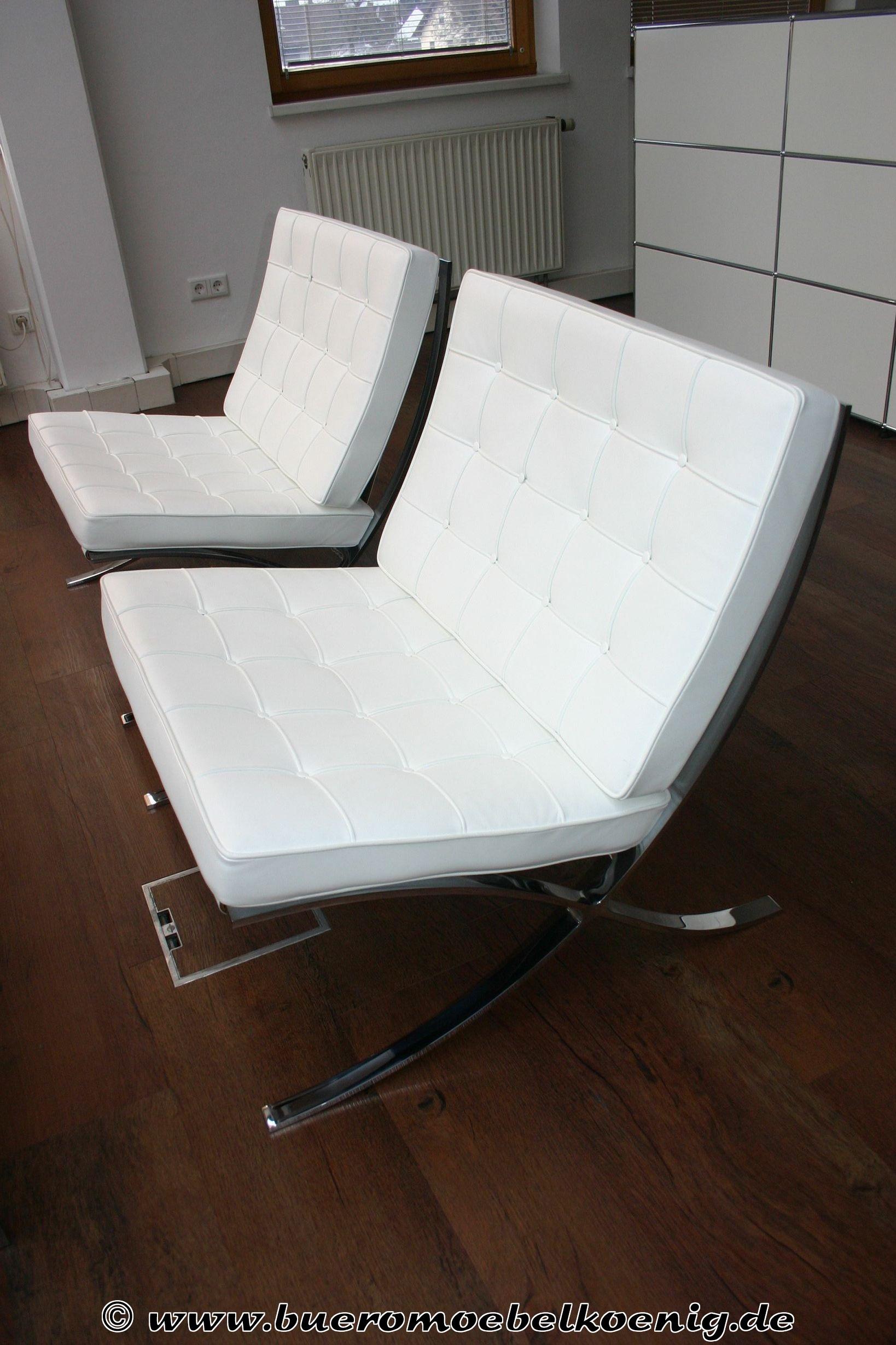 Barcelona Chair in weiß von Knoll